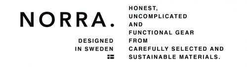 norra logo with mission text - honest, uncomplicated and functional gear from carefully selected and sustainable materials.