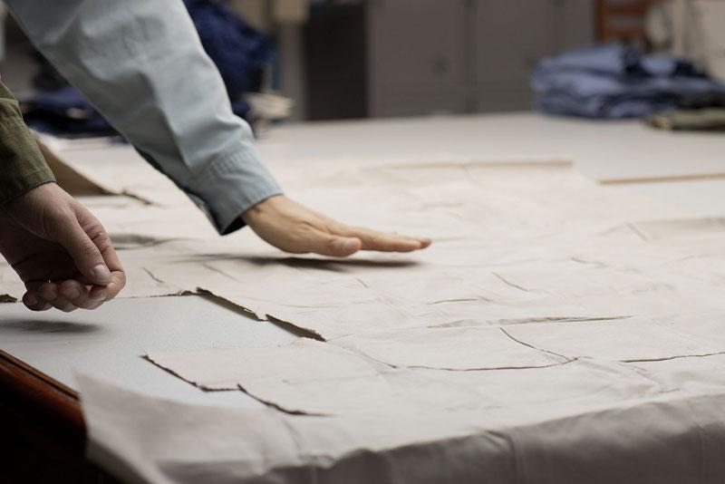 Hand over fabric