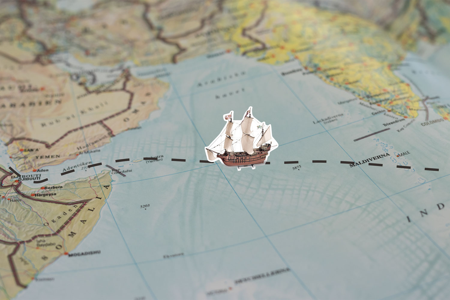 Map with boat