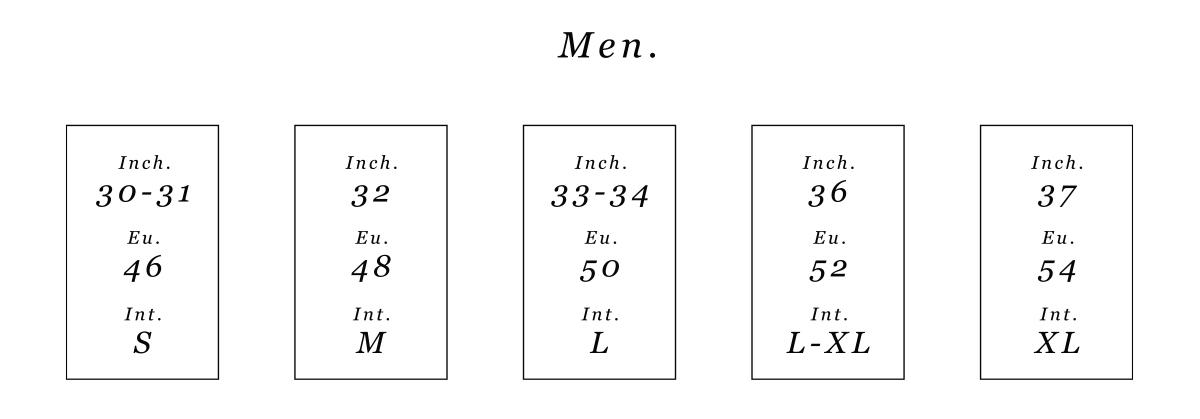 Men sizes