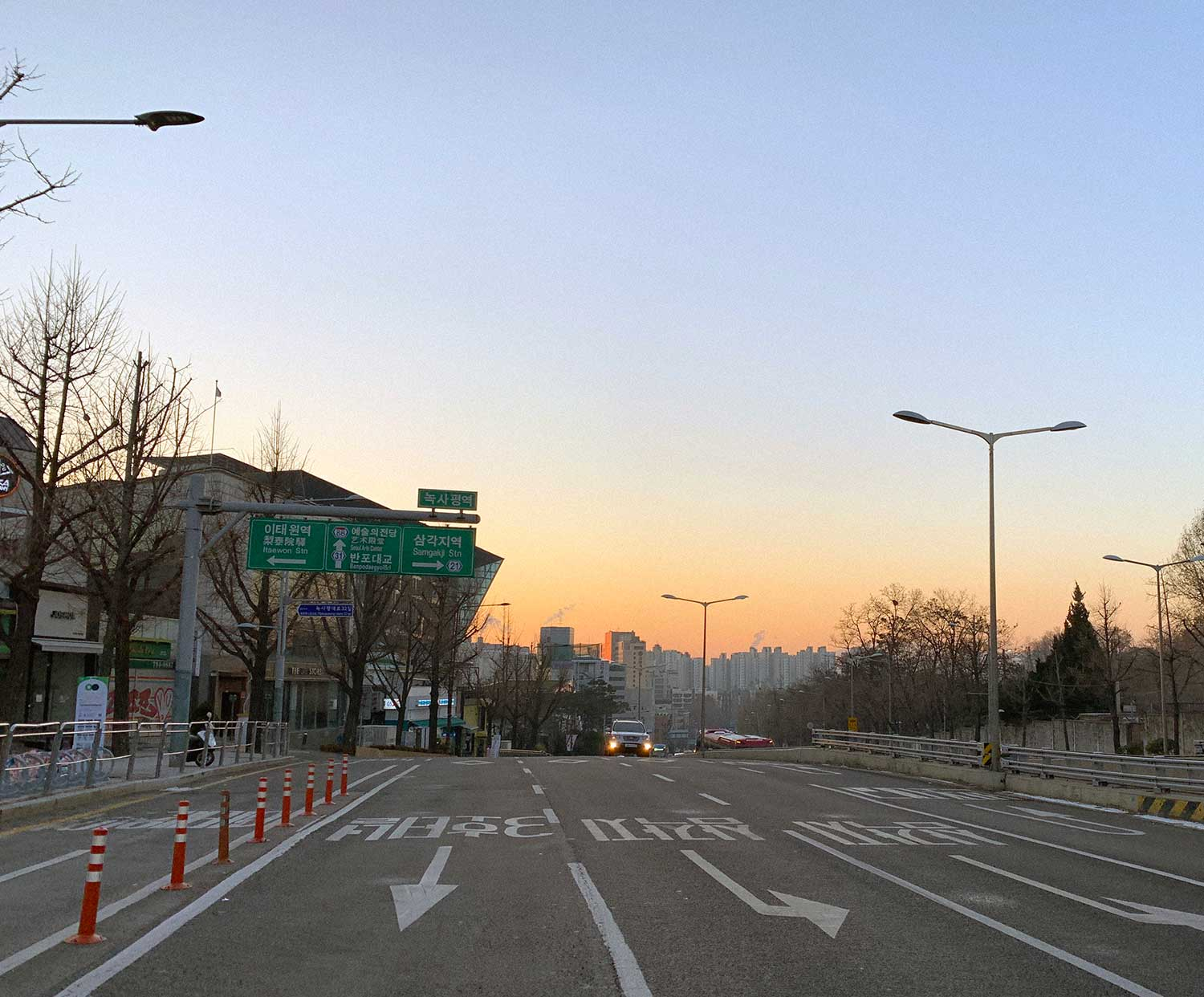 Sunrise on a street in Seoul, South Korea